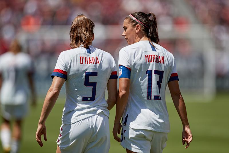 SANTA CLARA, CA - MAY 12: United States defender Kelley O'Hara (5) and United States forward Alex Morgan (13) chat in game action during an International friendly match between the United States and South Africa on May 12, 2019 at Levi's Stadium in Santa Clara, CA. (Photo by Robin Alam/Icon Sportswire via Getty Images)