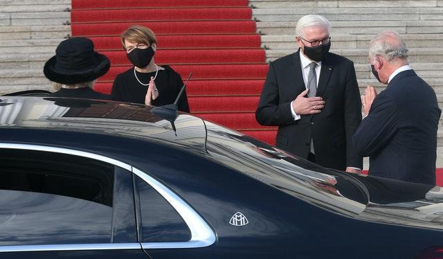 The royal couple are welcomed to Bellevue Palace, Berlin
