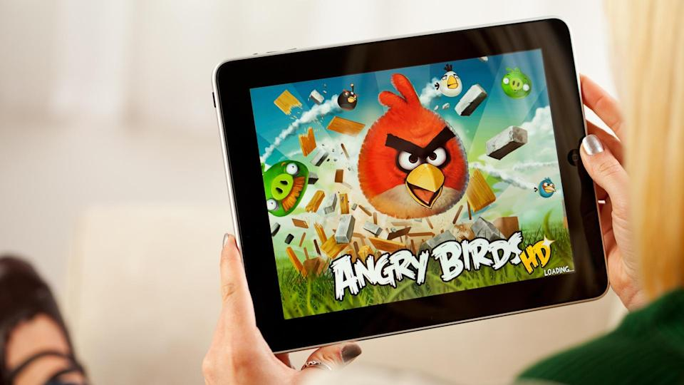 Angry Birds game app on a tablet