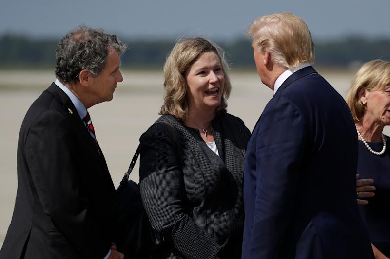 Sen. Sherrod Brown (D-Ohio) and Mayor Nan Whaley met with President Trump several days after the Aug. 4 mass shooting in Dayton. (Photo: ASSOCIATED PRESS)