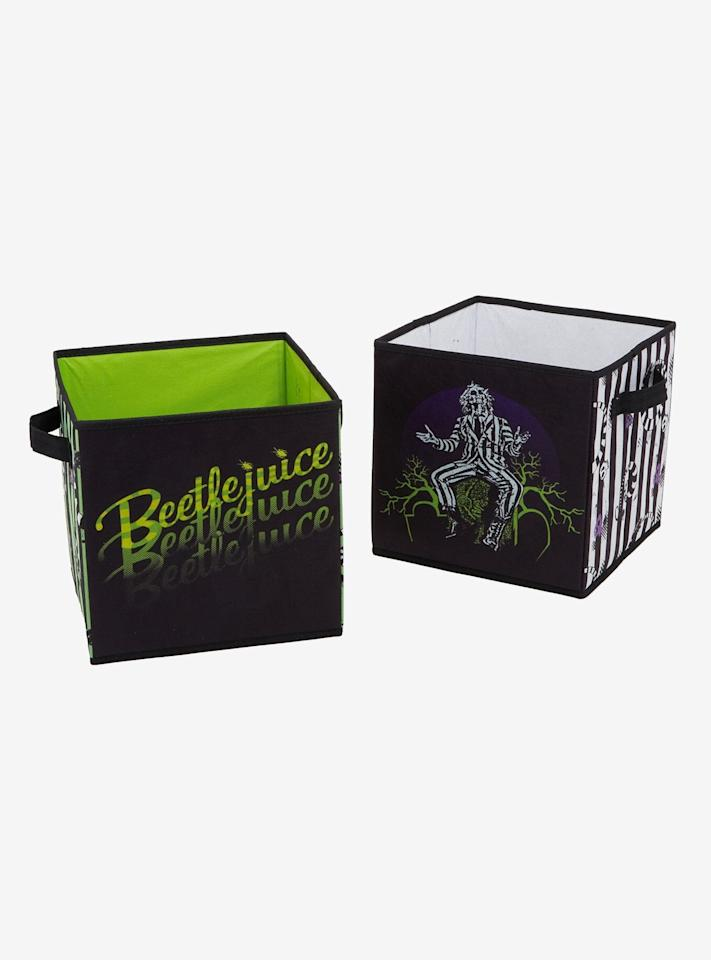 """<p>Stash your ordinary (or not so ordinary) items in this snazzy <a href=""""http://www.hottopic.com/product/beetlejuice-storage-bin-set/11849944.html"""" target=""""_blank"""" class=""""ga-track"""" data-ga-category=""""Related"""" data-ga-label=""""http://www.hottopic.com/product/beetlejuice-storage-bin-set/11849944.html"""" data-ga-action=""""In-Line Links""""><strong>Beetlejuice</strong> Storage Bin Set</a> ($14, originally $17).</p>"""