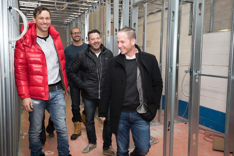 (L to R): David Sheckter, Aaron Judah, and Daniel Stern, who were the original founders of Cannmart, walk with Sean Dollinger, President and CEO of Namaste Technologies Inc, in the new Cannmart facility being built. (Maria Gagliardi, Owner/Photographer, marypics.com)