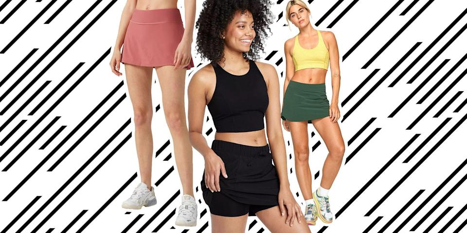 """<p>Exercise skorts give you the freedom of shorts, but the femininity and clean lines of a skirt. You can do just about every type of activity in a skort, from bicycling uphill to hitting a tennis ball on the court. In fact, the history behind this garment can be traced back to bicycling in the 1890s when trouser skirts, <a href=""""https://www.atlasobscura.com/articles/skort-history"""" rel=""""nofollow noopener"""" target=""""_blank"""" data-ylk=""""slk:as they were called then"""" class=""""link rapid-noclick-resp"""">as they were called then</a>, allowed women more freedom and mobility to get on a bike. (They looked very different compared to today's modern skorts, however.) Presently, <a href=""""https://www.marieclaire.com/fashion/g32369050/best-activewear-brands/"""" rel=""""nofollow noopener"""" target=""""_blank"""" data-ylk=""""slk:many retailers offer"""" class=""""link rapid-noclick-resp"""">many retailers offer</a> athletic skorts that come in a range of colors and lengths, allowing you to feel <a href=""""https://www.marieclaire.com/fashion/g27915381/best-sports-bras/"""" rel=""""nofollow noopener"""" target=""""_blank"""" data-ylk=""""slk:comfortable and modest"""" class=""""link rapid-noclick-resp"""">comfortable and modest</a> at the same time. You never have to worry about wind gusts accidentally lifting up your skirt because if it does, the pair of shorts underneath provide ample coverage. There's a reason skorts have stuck around for so long—they're cute and versatile—and we've rounded up our favorites this season, below.</p>"""