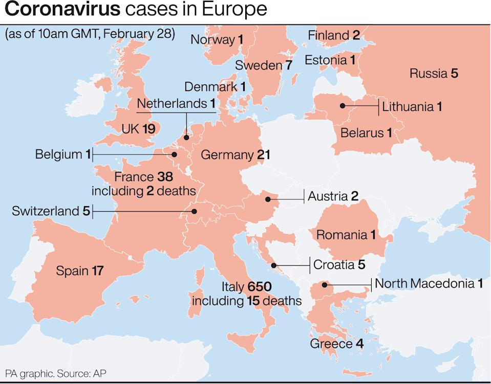 These are the coronavirus cases confirmed in Europe. (PA Graphics)