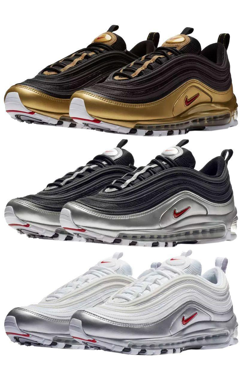 """<p><a href=""""https://www.nike.com/launch/t/air-max-97-metallic-silver-white/"""" rel=""""nofollow noopener"""" target=""""_blank"""" data-ylk=""""slk:SHOP"""" class=""""link rapid-noclick-resp"""">SHOP</a> <em>$180, <a href=""""https://www.nike.com/launch/t/air-max-97-metallic-silver-white/"""" rel=""""nofollow noopener"""" target=""""_blank"""" data-ylk=""""slk:nike.com"""" class=""""link rapid-noclick-resp"""">nike.com</a></em></p><p>The very first Air Max 97 was the Silver Bullet, inspired by super fast Japanese trains. This week, the metallic inspiration returns to the 97 in three different colorways. Black, white, silver, and gold appear on the late-'90s runner in three different combinations. None of these colorways is a classic but each of them references the history of the sneaker, while also providing new elements for an appropriate update. You can't go wrong with any of them.</p><p><strong>Release:</strong> 11/9</p>"""