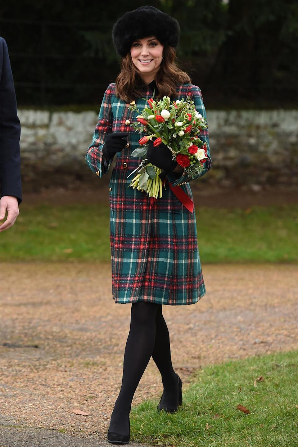 <p>While pregnant with Prince Louis, Kate walked to church on Christmas morning 2017 with a green and red plaid coat over her baby bump. </p>