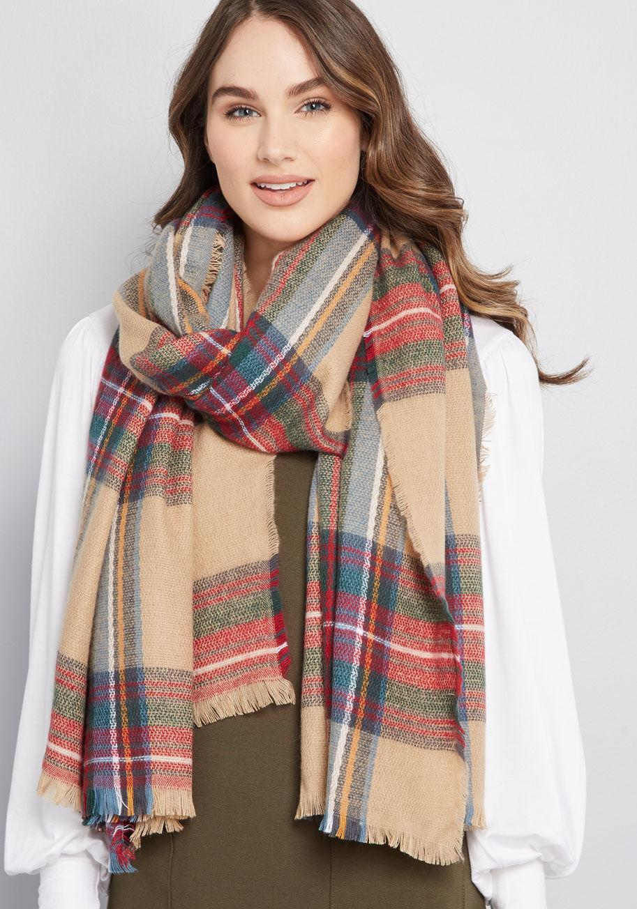 Willamette Wanderings Plaid Blanket Scarf in Classic. (Photo: Modcloth)