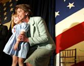 <p>Pelosi hugs her granddaughter at the swearing in ceremony. </p>