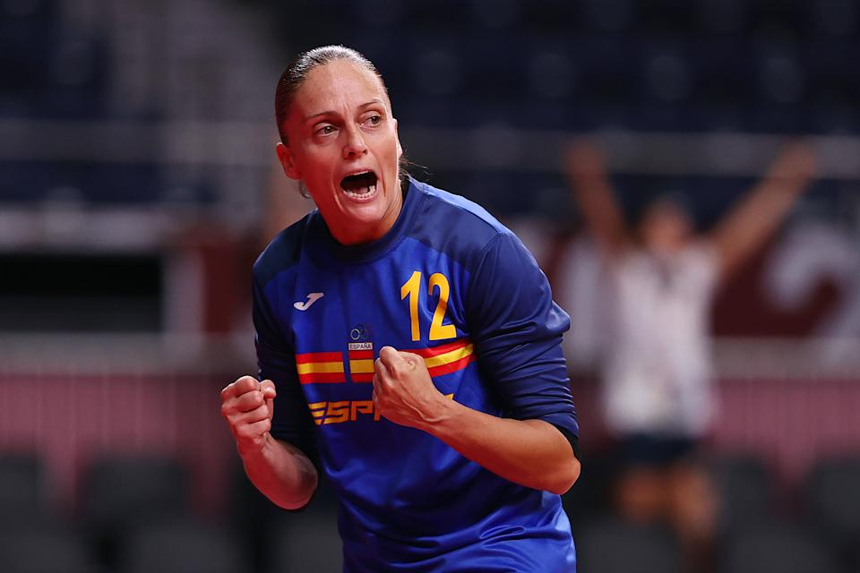 TOKYO, JAPAN - JULY 29: Silvia Navarro Gimenez of Team Spain celebrates after making a save during the Women's Preliminary Round Group B handball match between Spain and Brazil on day six of the Tokyo 2020 Olympic Games at Yoyogi National Stadium on July 29, 2021 in Tokyo, Japan. (Photo by Dean Mouhtaropoulos/Getty Images)