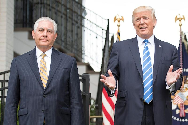 Rex Tillerson (left) and Donald Trump