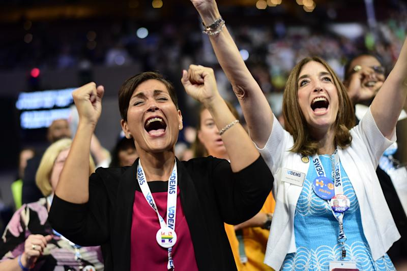 Virginia delegates Hala Ayala (Left) and Eileen Filler (right) celebrate the nomination of Vice Presidential Candidate Tim Kaine during the third day of the Democratic National Convention in Philadelphia on Wednesday, July 27, 2016.