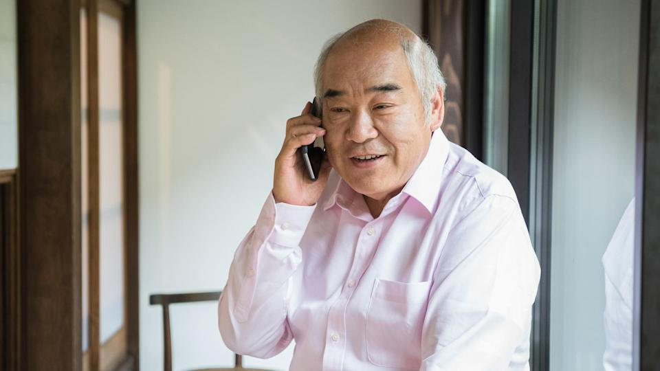 11276, 60-64 years, 60-69 Years, Adult, Asia, Asia Pac, Asian Ethnicity, Balding, Communication, Content, Day, Domestic Life, East Asia, East Asian Ethnicity, Global Communications, Home Interior, Horizontal, Indoors, Japan, Japanese Ethnicity, Kyoto City, Kyoto Prefecture, Lifestyles, Listening, LypseKYO16, Males, Men, Mobile Phone, One Man Only, One Person, One Senior Man Only, PitchKYO16, Senior Adult, Senior Men, Smart Phone, Talking, Telephone, Using Phone, people, retirement