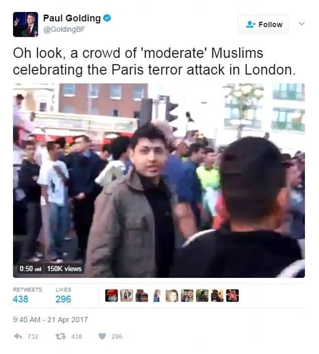 Paul Golding claimed a group of cricket fans were celebrating the Paris attack