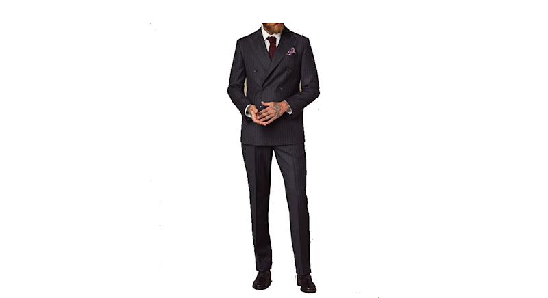 Men's Charcoal Chalk Stripe Tailored Fit Double Breasted Italian Suit