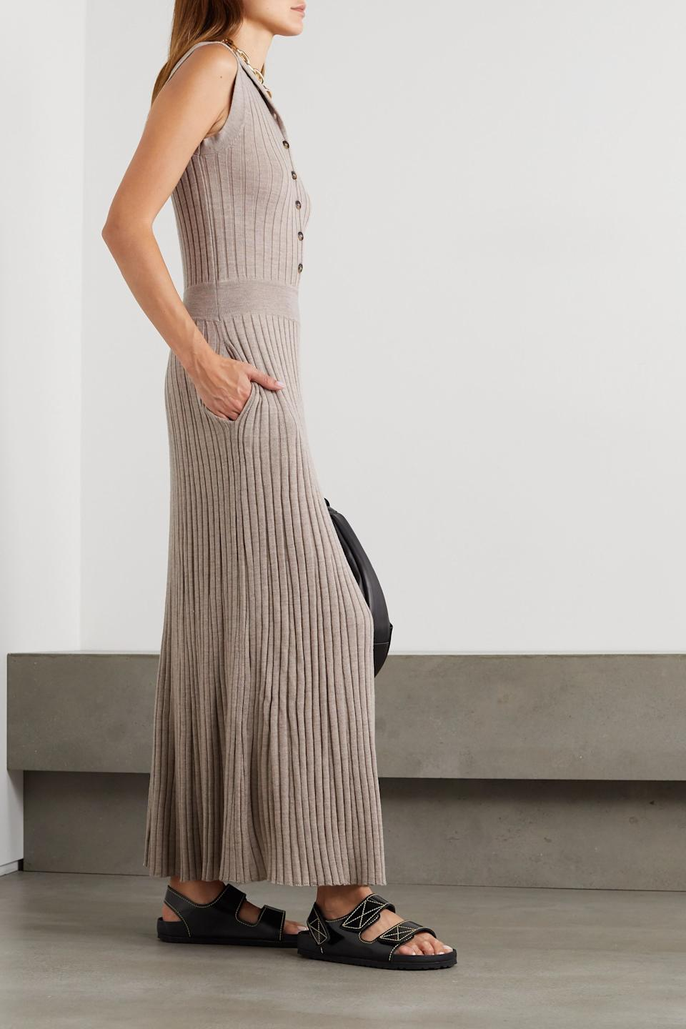 "<br><br><strong>LOULOU STUDIO</strong> Arborea Ribbed Wool Maxi Dress, $, available at <a href=""https://go.skimresources.com/?id=30283X879131&url=https%3A%2F%2Fwww.net-a-porter.com%2Fen-us%2Fshop%2Fproduct%2Floulou-studio%2Farborea-ribbed-wool-maxi-dress%2F1265911%3F"" rel=""nofollow noopener"" target=""_blank"" data-ylk=""slk:Net-A-Porter"" class=""link rapid-noclick-resp"">Net-A-Porter</a>"