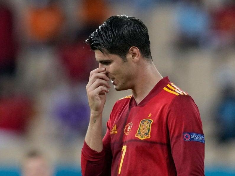 Alvaro Morata reacts to missing a chance against Sweden (POOL/AFP via Getty Images)