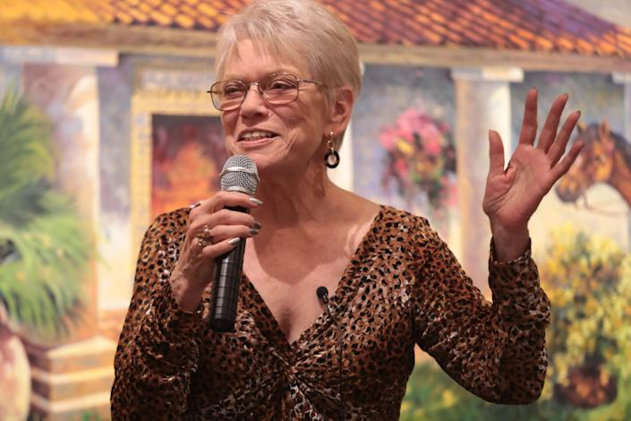 "Anita Rufus shares an emotional story about family and ""searching"" at the Coachella Valley Storytellers Project, La Quinta, Calif., March 21, 2019."