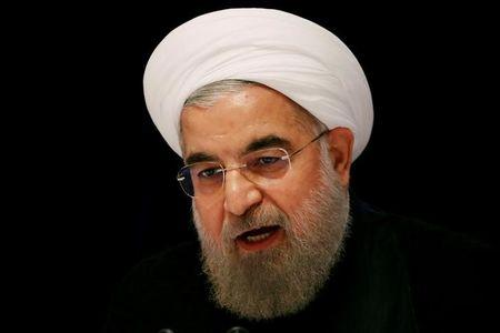 FILE PHOTO: Iranian President Hassan Rouhani speaks at a news conference near the United Nations General Assembly in New York