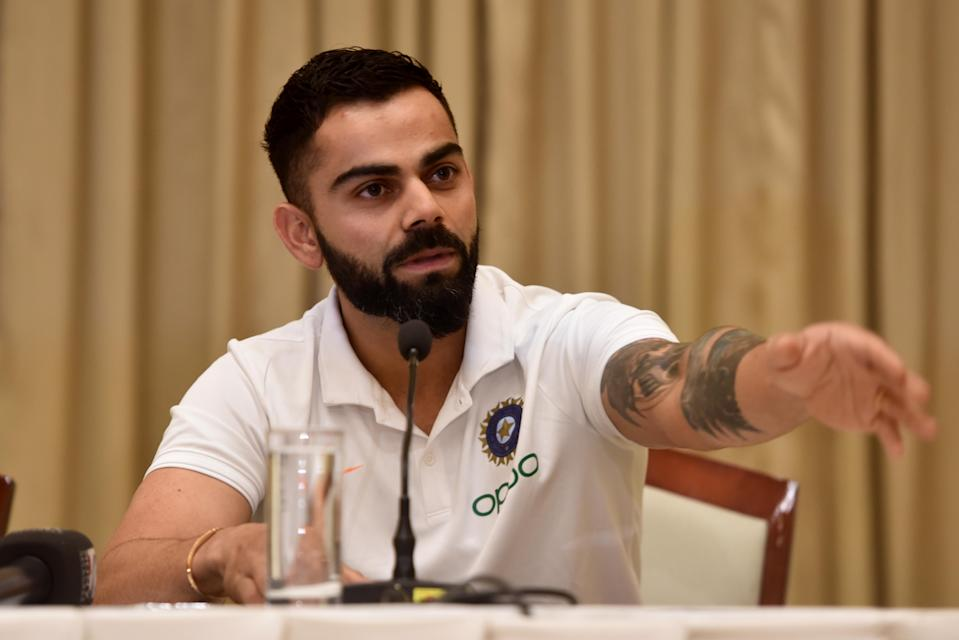 MUMBAI, INDIA - JULY 29: Indian cricket captain Virat Kohli during a press conference before West Indies tour, at ITC hotel in Andheri, on July 29, 2019 in Mumbai, India. Speaking to the media, the captain made it clear that there is no rift within the team and called the rumours as baffling.  (Photo by Satyabrata Tripathy/Hindustan Times via Getty Images)