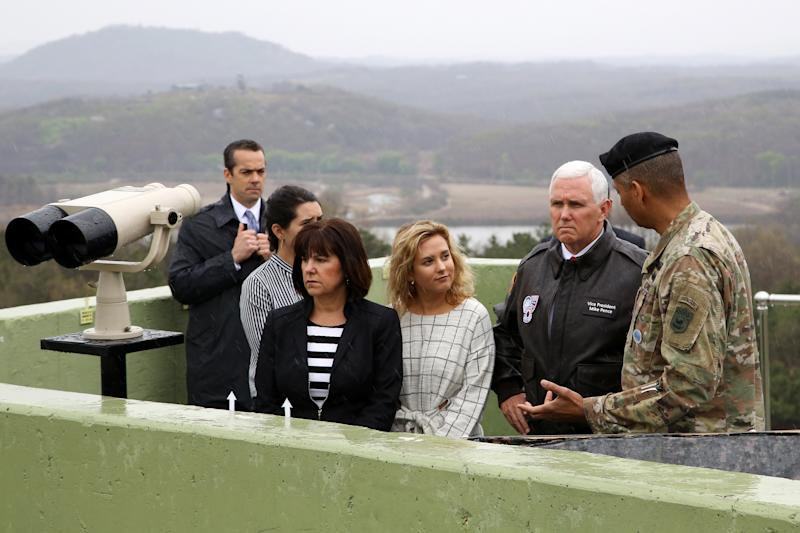 Vice President Mike Pence looks across to the north side of the border at the truce village of Panmunjom in the Demilitarized Zone (DMZ) in Paju, South Korea, in April. (Bloomberg via Getty Images)