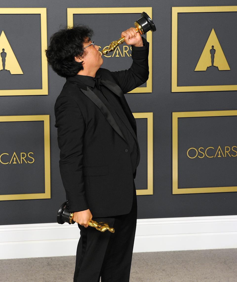 Bong Joon Ho poses with his Award for Best Director, Best Picture ('Parasite') inside The Press Room of the 92nd Annual Academy Awards held at Hollywood and Highland on February 9, 2020 in Hollywood, California.  (Photo by Albert L. Ortega/Getty Images)