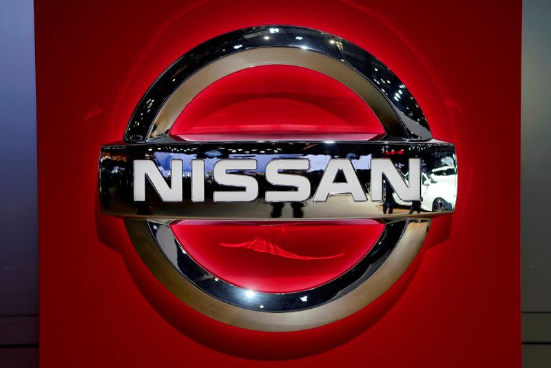 FILE PHOTO: Nissan logo is pictured during the media day for the Shanghai auto show in Shanghai