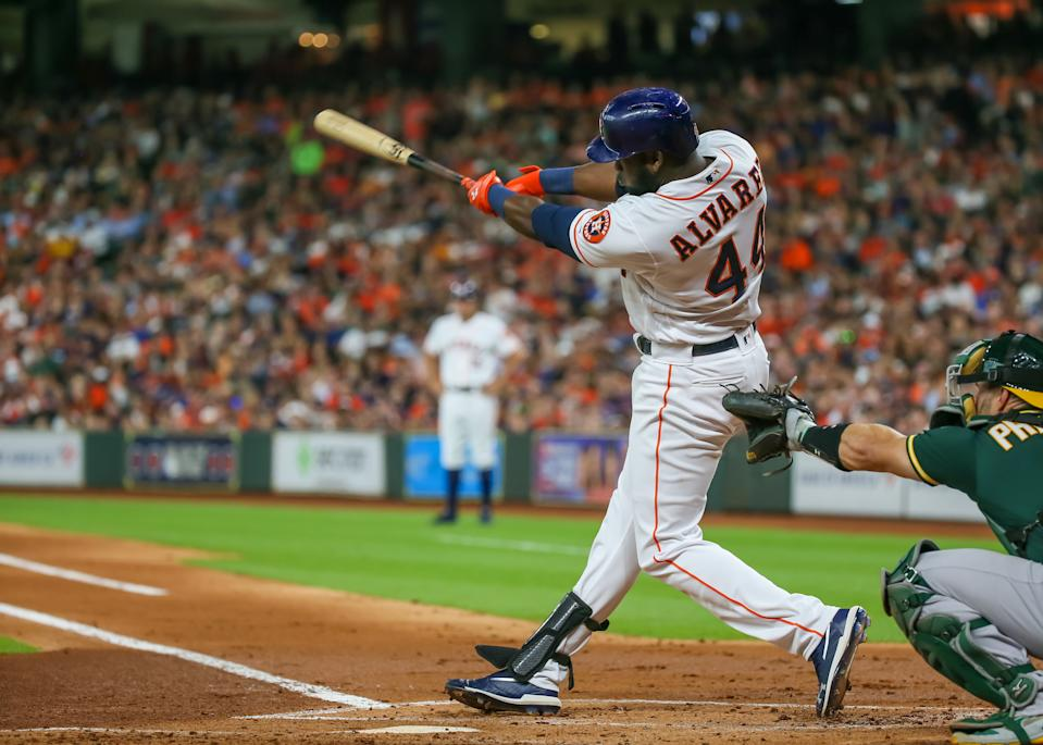 HOUSTON, TX - JULY 22:  Houston Astros designated hitter Yordan Alvarez (44) hits a home run in the bottom of the second inning during the baseball game between the Oakland Athletics and Houston Astros on July 22, 2019 at Minute Maid Park in Houston, Texas.  (Photo by Leslie Plaza Johnson/Icon Sportswire via Getty Images)