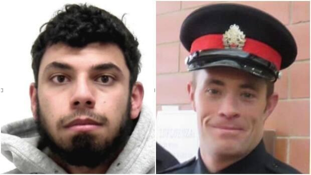 Amir Abdulrahman, left, is charged with first-degree murder in the death of Calgary police officer Sgt. Andrew Harnett, who was killed during a traffic stop on New Year's Eve. (Calgary Police Service, Strathmore Legion/Facebook - image credit)