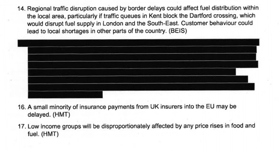 The redacted paragraph in Operation Yellowhammer deals with fuel shortages, according to a leaked version of the document (PA)