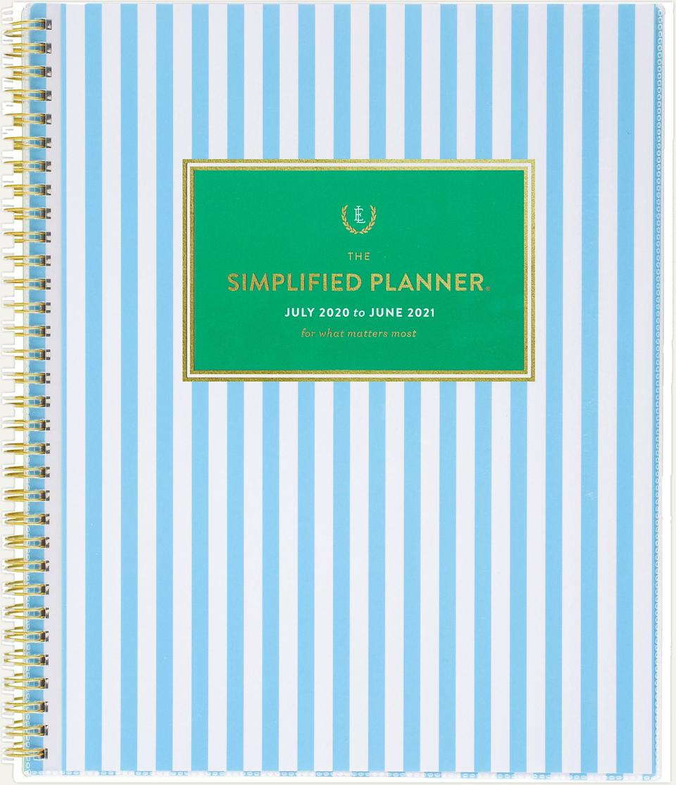 """<h3><a href=""""https://www.ataglance.com/ataglance/browse/product/Simplified+for+AT-A-GLANCE+Blue+Stripe+Academic+Customizable+Weekly-Monthly+Planner/EL401-901A;jsessionid=iVWbsLj-aV0Caaz-FaaUw3vUgyN96na3bHf0OBTnWemcwN3Cmi3u!-842576074"""" rel=""""nofollow noopener"""" target=""""_blank"""" data-ylk=""""slk:Emily Ley Blue Stripe Academic Customizable Weekly-Monthly Planner"""" class=""""link rapid-noclick-resp"""">Emily Ley Blue Stripe Academic Customizable Weekly-Monthly Planner</a></h3> <br>Created by designer and mom Emily Ley, this planner made based on the belief that a full and abundant life doesn't have to be overwhelming. Use its many spreads, calendars, and design tools to de-clutter your life without skipping a beat. <br><br><strong>Emily Ley</strong> Blue Stripe Academic Customizable Weekly-Monthly Planne, $, available at <a href=""""https://go.skimresources.com/?id=30283X879131&url=https%3A%2F%2Fwww.ataglance.com%2Fataglance%2Fbrowse%2Fproduct%2FSimplified%2Bfor%2BAT-A-GLANCE%2BBlue%2BStripe%2BAcademic%2BCustomizable%2BWeekly-Monthly%2BPlanner%2FEL401-901A%3Bjsessionid%3DiVWbsLj-aV0Caaz-FaaUw3vUgyN96na3bHf0OBTnWemcwN3Cmi3u%21-842576074"""" rel=""""nofollow noopener"""" target=""""_blank"""" data-ylk=""""slk:At A Glance"""" class=""""link rapid-noclick-resp"""">At A Glance</a><br>"""