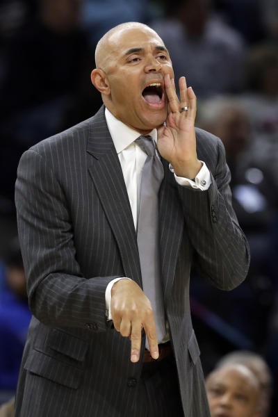 FILE - In this Nov. 15, 2018, file photo, DePaul coach Dave Leitao shouts to his team during the first half of an NCAA college basketball game against Penn State, in Chicago. The NCAA suspended mens basketball coach Dave Leitao for the first three games of the regular season Tuesday, July 23, 2019, saying he should have done more to prevent recruiting violations by his staff. The NCAA also put the Big East program on three years of probation, issued a $5,000 fine and said an undetermined number of games will be vacated because DePaul put an ineligible player on the floor. An unidentified former associate head coach is also facing a three-year show cause order for his role in the violations. (AP Photo/Nam Y. Huh, FIle)