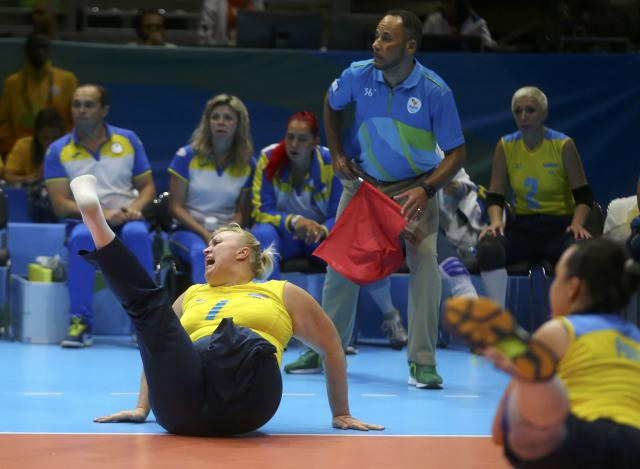 2016 Rio Paralympics - Sitting Volleyball - Women's Bronze Match - Riocentro Pavilion 6 - Rio de Janeiro, Brazil, 17/09/2016. Larysa Klochkova (UKR) of Ukraine reacts. REUTERS/Pilar Olivares FOR EDITORIAL USE ONLY. NOT FOR SALE FOR MARKETING OR ADVERTISING CAMPAIGNS.