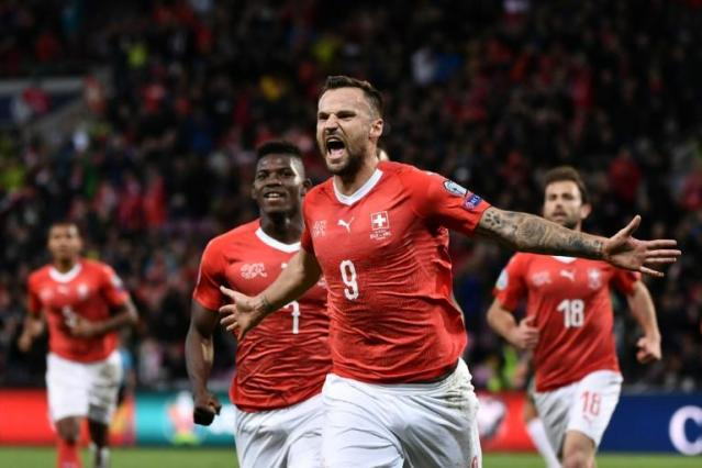 Switzerland's Haris Seferovic scored his 18th goal in 64 international appearances in the victory over the Republic of Ireland (AFP Photo/FABRICE COFFRINI)