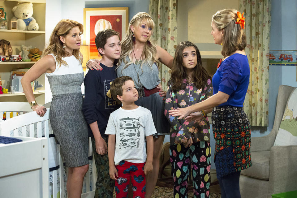 <p>DJ Tanner isn't the only mom in the <i>House</i>. Here we see her sons Jackson (Michael Campion, left) and Max (Elias Harger, center) along with Kimmy's daughter Ramona (Soni Nicole Bringas). </p><p><i>(Credit: Netflix)</i></p>