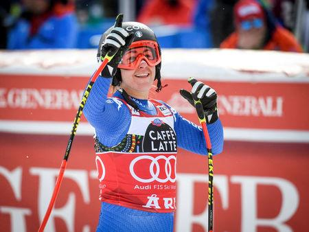Alpine Skiing - FIS Alpine Skiing World Cup - Women's Downhill - Are, Sweden - March 14, 2018. Sofia Goggia of Italy reacts after final race. Anders Wiklund/TT News Agency via Reuters