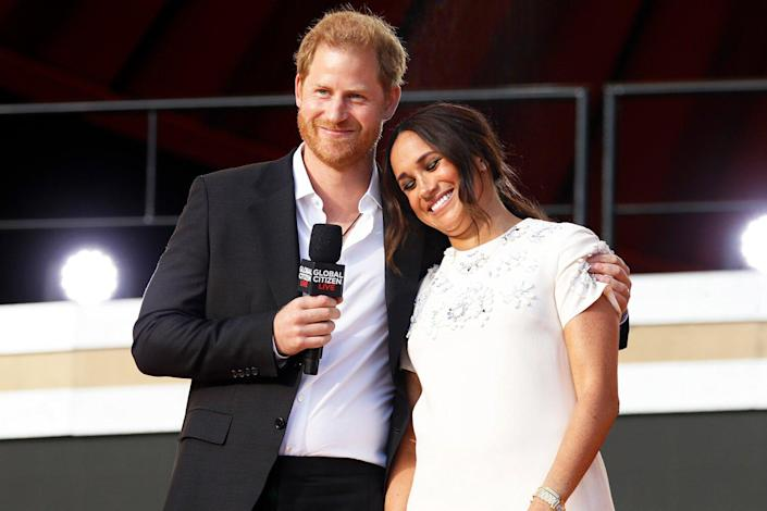 Prince Harry, Duke of Sussex and Meghan, Duchess of Sussex speak onstage during Global Citizen Live, New York on September 25, 2021 in New York City.