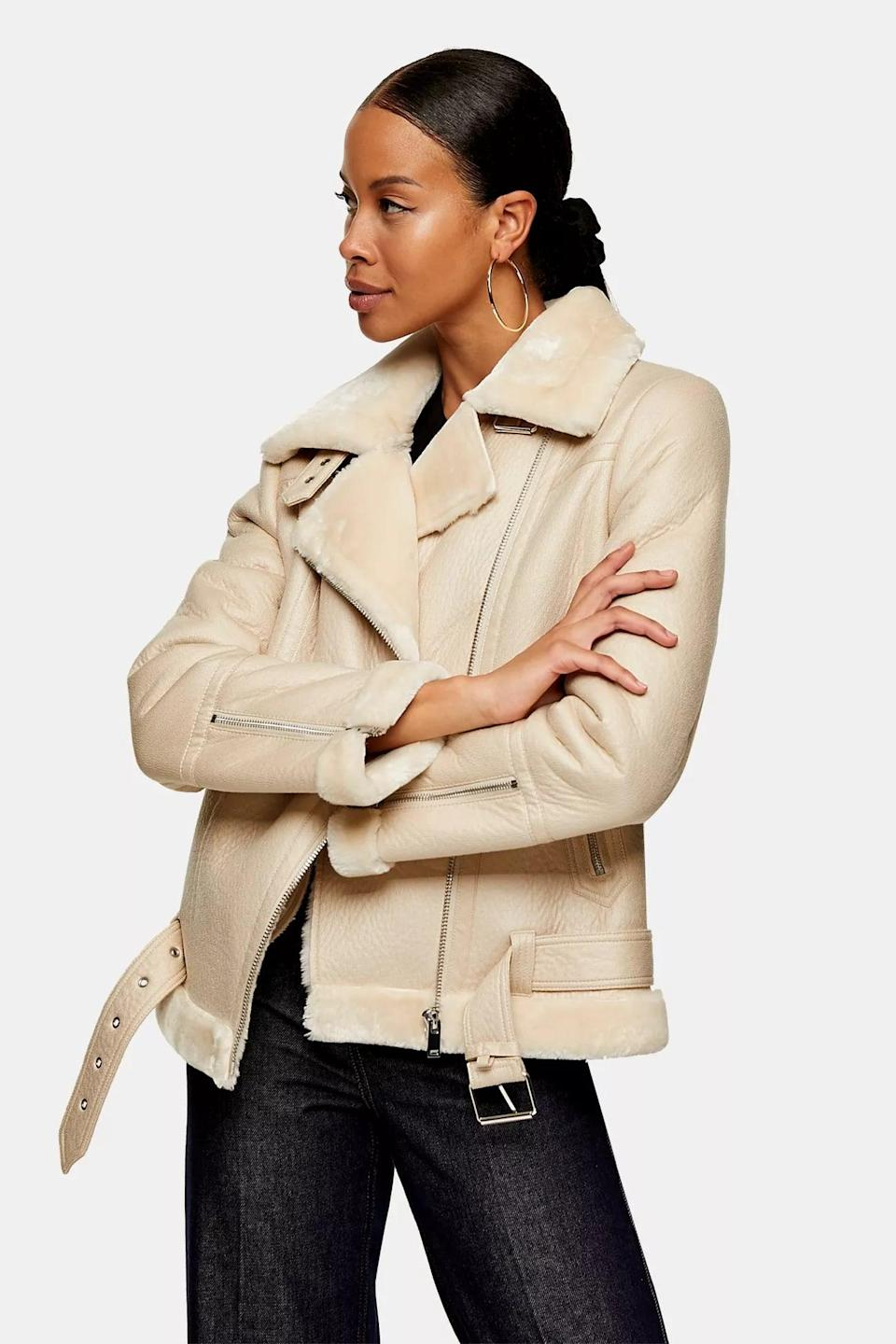<p>Finish off any look with this <span>Ecru Biker Jacket</span> ($125) to continue looking effortlessly stylish.</p>