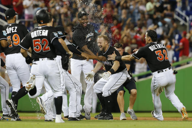 Miami Marlins pinch hitter Bryan Holaday, second from right, is rushed by teammates after his 11th inning winning RBI-single to defeat the New York Mets in a baseball game in Miami, Saturday, Aug. 11, 2018. (AP Photo/Joe Skipper)