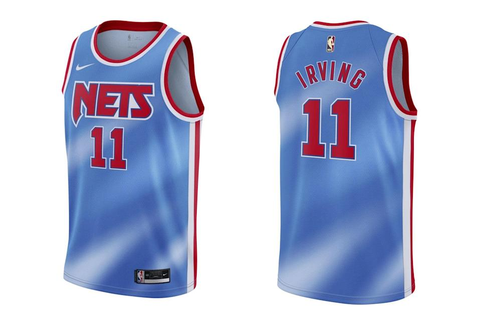 "$110, Brooklyn Nets. <a href=""https://netsstore.com/collections/new-arrivals/products/kyrie-irving-11-nike-classic-edition-swingman-jersey"" rel=""nofollow noopener"" target=""_blank"" data-ylk=""slk:Get it now!"" class=""link rapid-noclick-resp"">Get it now!</a>"
