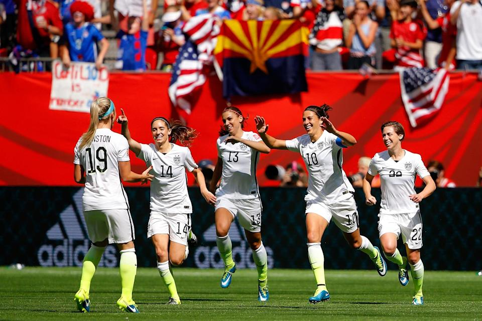 """<p>After a 16-year drought, the US women's team won its first World Cup since 1999. During the final against Japan, not only did a win emerge, but also a new star: <a href=""""https://www.popsugar.com/celebrity/Celebrity-Reactions-USA-Women-Soccer-World-Cup-Win-37842314"""" class=""""link rapid-noclick-resp"""" rel=""""nofollow noopener"""" target=""""_blank"""" data-ylk=""""slk:Carli Lloyd completed a hat trick"""">Carli Lloyd completed a hat trick</a>, leading the team to a 5-2 victory. With this win, the new generation of USA women's soccer cemented themselves as power players.</p> <p>Related: <a href=""""https://www.popsugar.com/fitness/Interview-US-Women-Soccer-Team-Equal-Pay-2019-45966744?utm_medium=partner_feed&utm_source=yahoo_publisher&utm_campaign=related%20link"""" rel=""""nofollow noopener"""" target=""""_blank"""" data-ylk=""""slk:The Women of US Soccer Say Their Battle For Gender Equality &quot;Is Part of Our Legacy&quot;"""" class=""""link rapid-noclick-resp"""">The Women of US Soccer Say Their Battle For Gender Equality &quot;Is Part of Our Legacy&quot;</a></p>"""