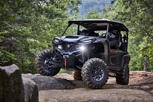Wolverine RMAX 1000 XT-R Editions are available in a new Tactical Black / Carbon Metallic with Maxxis Carnivore tires, a heavy duty WARN winch, FOX QS3 shocks, and a stylish paint and graphics package starting at $23,899 MSRP.