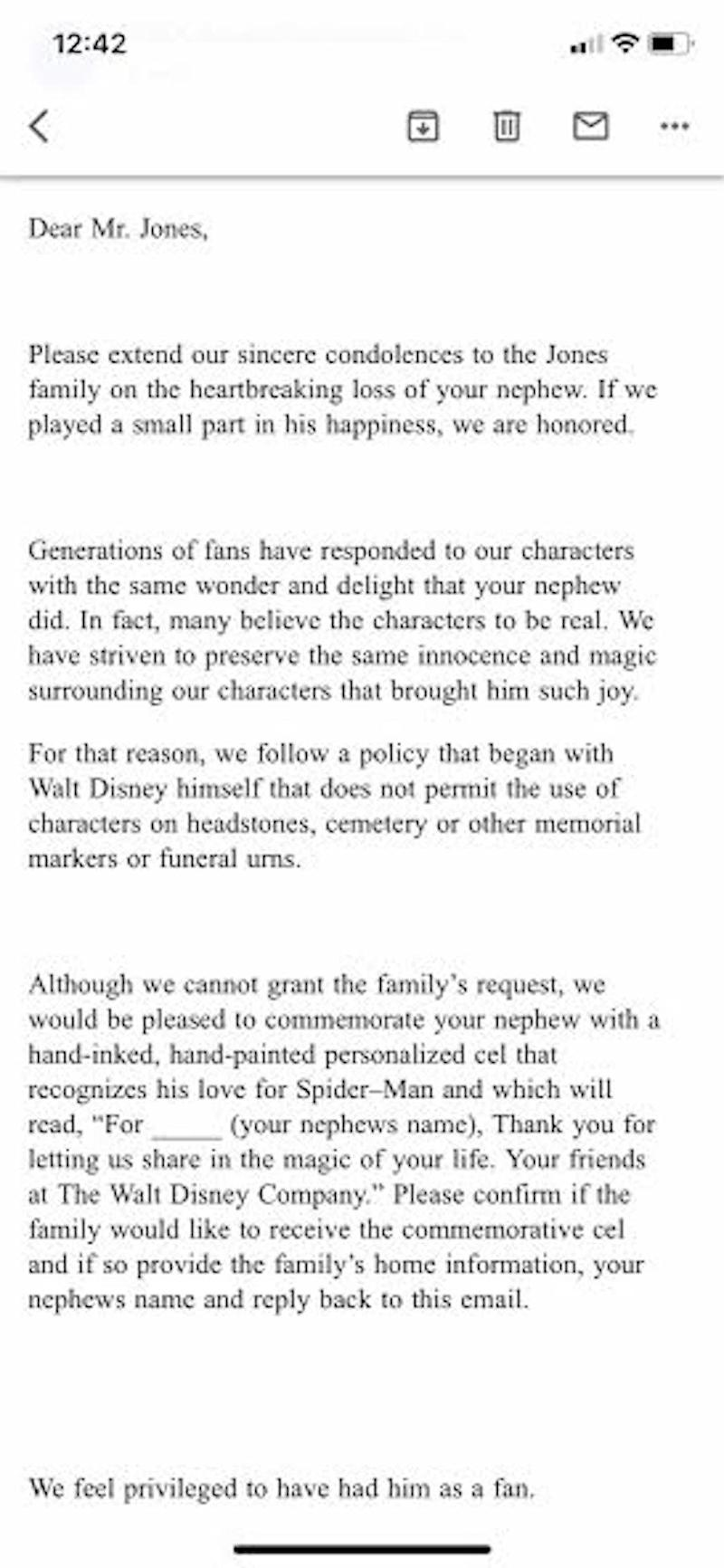 disney denies father's request to put spider-man on son's grave