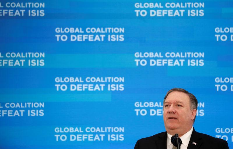 Pompeo hosts a gathering of foreign ministers aligned toward the defeat of Islamic State in Washington