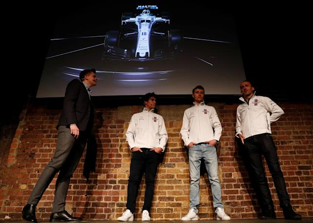 F1 Formula One - Williams Formula One Launch - London, Britain - February 15, 2018 Jake Humphrey speaks with Williams' Driver Lance Stroll, Driver Sergey Sirotkin and Reserve and Development Driver Robert Kubica during the launch Action Images via Reuters/Paul Childs
