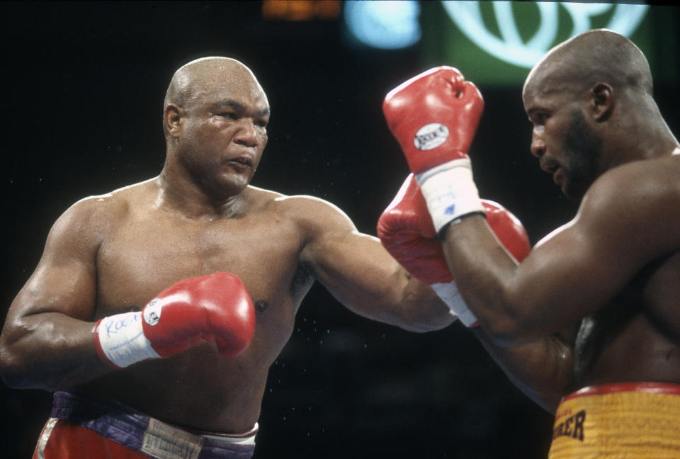 LAS VEGAS, NV - NOVEMBER 5: George Foreman and Michael Moorer fight for the WBA and IBF heavyweight tittle on November 5, 1994 at the MGM Grand Garden Arena in Las Vegas, Nevada. Foreman won the fight with a knock out in the tenth round. (Photo by Focus on Sport/Getty Images)