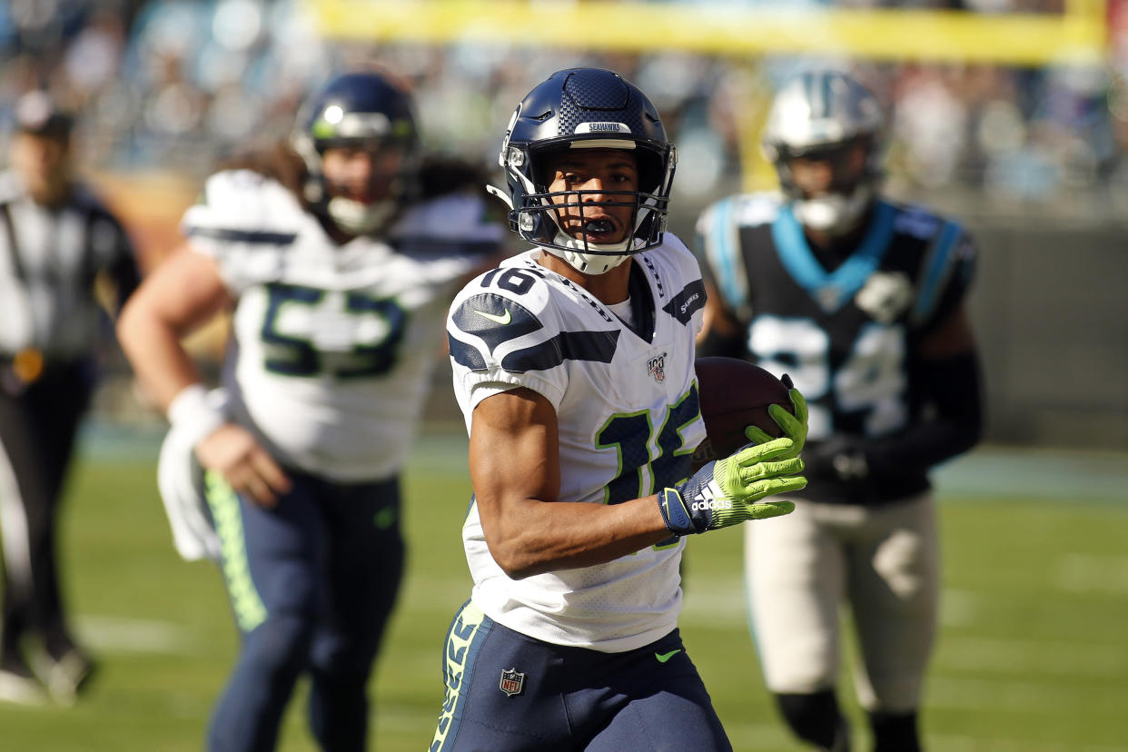 Seattle Seahawks receiver Tyler Lockett (16) could benefit from a new-look offense. (AP Photo/Brian Blanco)