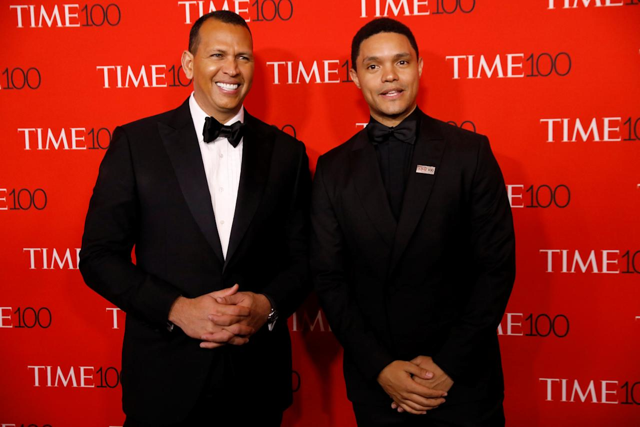 Alex Rodriguez and Trevor Noah arrive for the TIME 100 Gala in Manhattan, New York, U.S., April 24, 2018. REUTERS/Shannon Stapleton