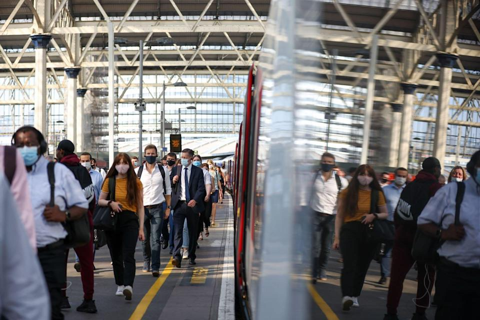 Commuters at London's Waterloo Station