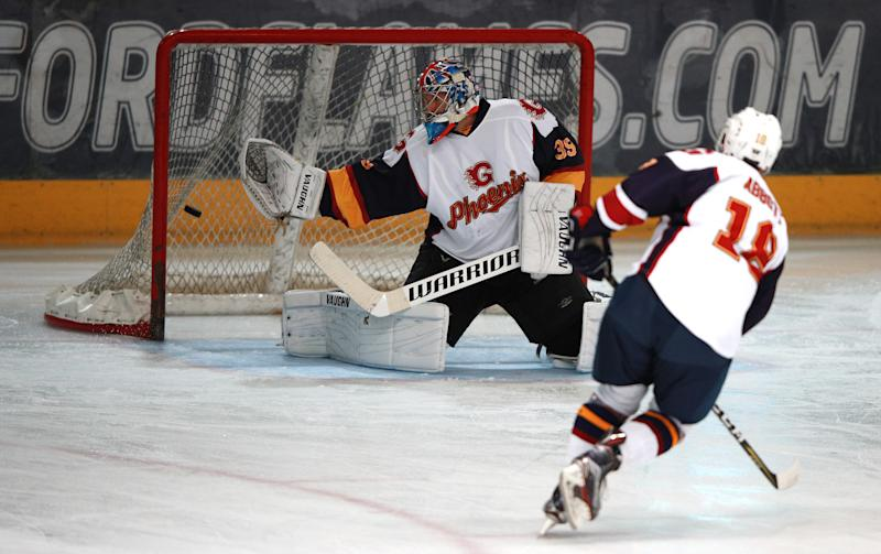 Guildford Phoenix goaltender Petr Cech allows a goal during the NIHL2 match at Guildford Spectrum Leisure Complex, Guildford. (Photo by Ian Walton/PA Images via Getty Images)
