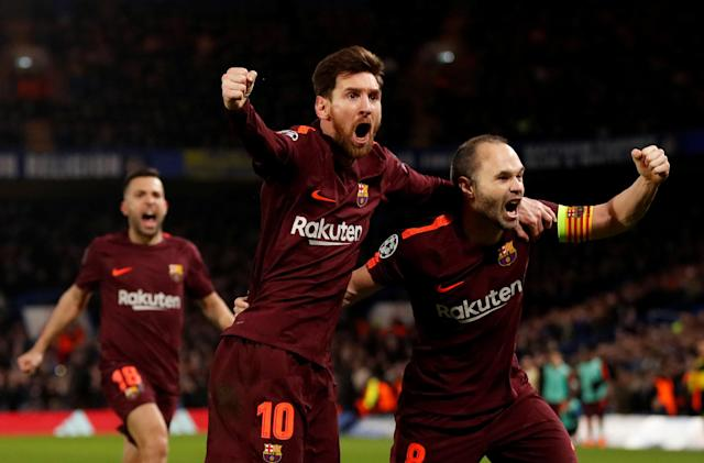 Soccer Football - Champions League Round of 16 First Leg - Chelsea vs FC Barcelona - Stamford Bridge, London, Britain - February 20, 2018 Barcelona's Lionel Messi celebrates scoring their first goal with Andres Iniesta Action Images via Reuters/Andrew Boyers TPX IMAGES OF THE DAY